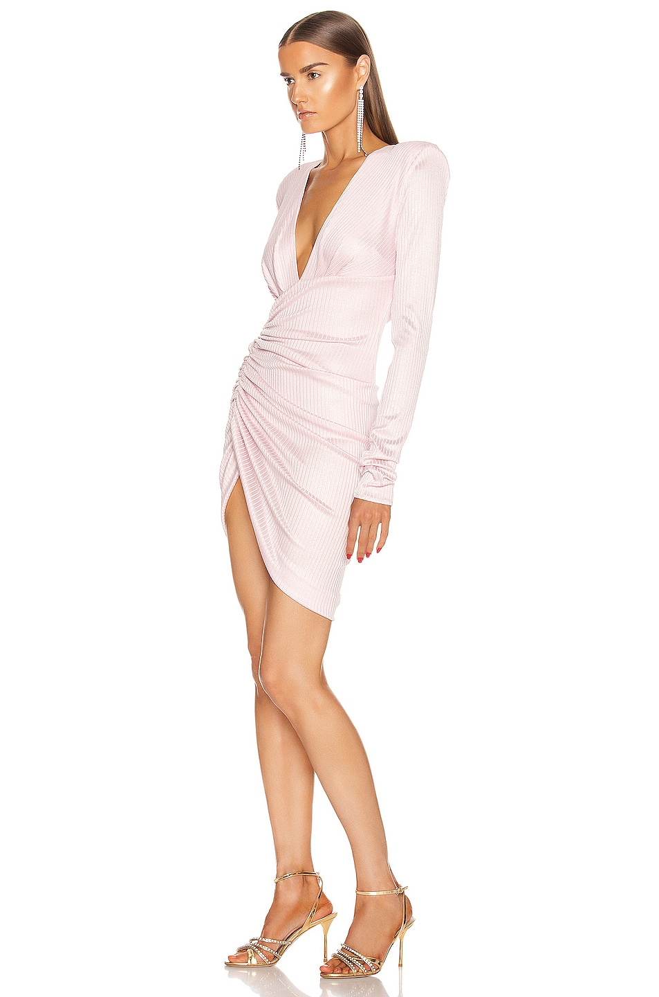 Image 3 of Alexandre Vauthier Lame Rib Jersey Mini Dress in Pink