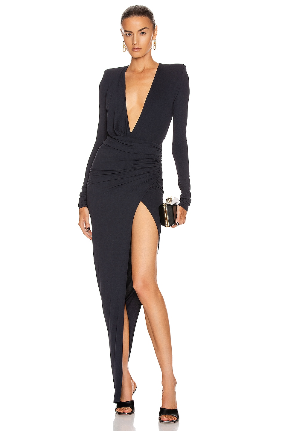 Image 1 of Alexandre Vauthier Stretch Jersey Maxi Dress in Navy