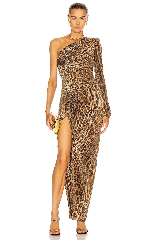 Image 1 of Alexandre Vauthier 0 Leopard One Shoulder Dress in Natural