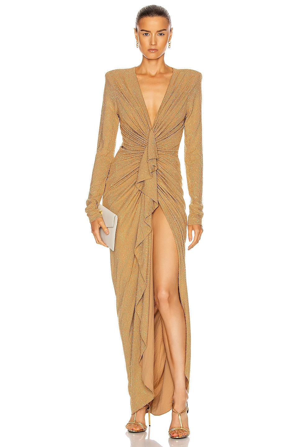 Image 1 of Alexandre Vauthier Studded Gathered Maxi Dress in Beige