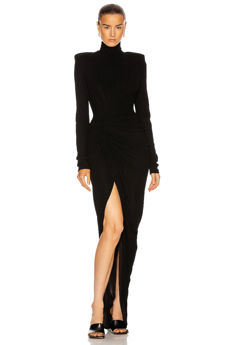 Image 1 of Alexandre Vauthier Ruched Long Sleeve Gown in Black