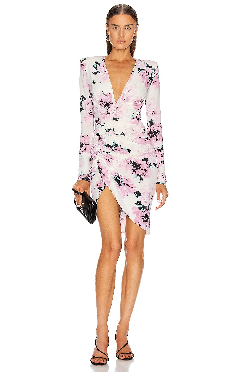 Image 1 of Alexandre Vauthier Ruched Floral Mini Dress in Pink
