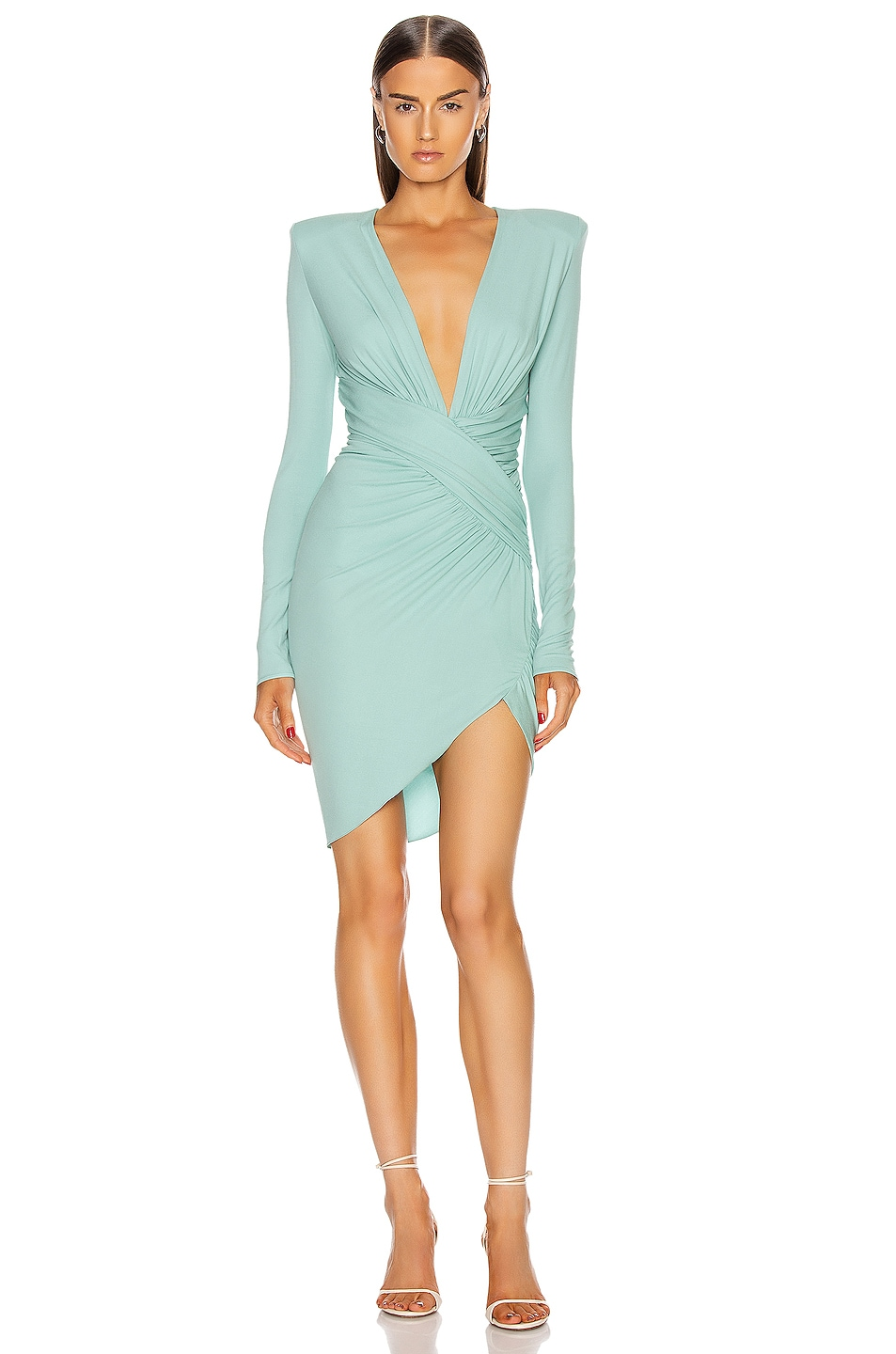 Image 1 of Alexandre Vauthier Plunging Mini Dress in Mint