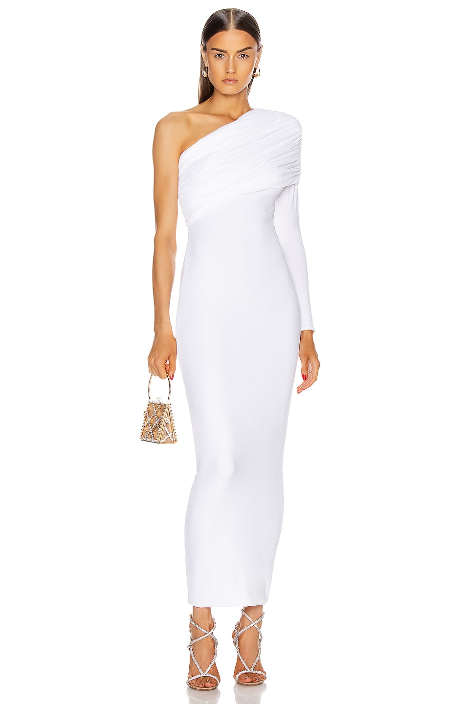 Image 1 of Alexandre Vauthier Ruched One Shoulder Gown in White