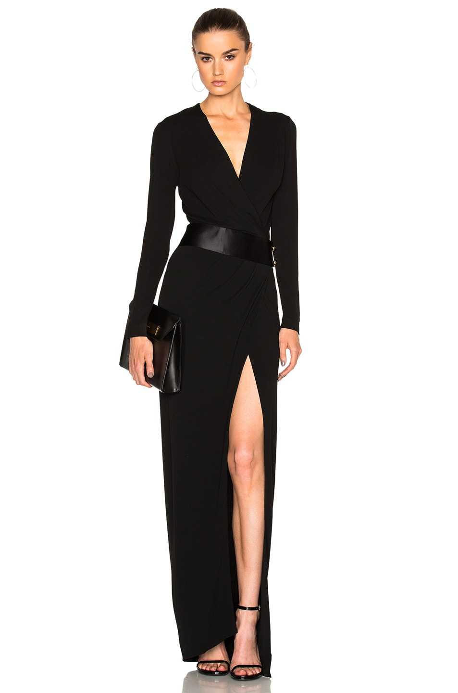 Image 1 of Alexandre Vauthier High Slit Maxi Dress in Black