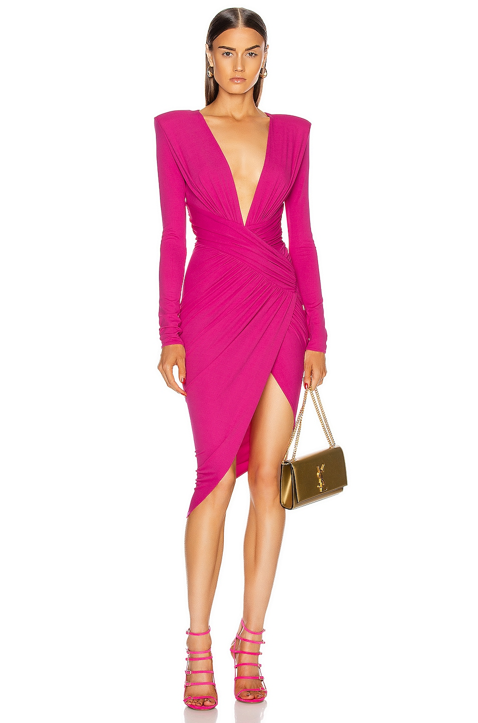 Image 1 of Alexandre Vauthier Plunging Asymmetric Midi Dress in Fuchsia