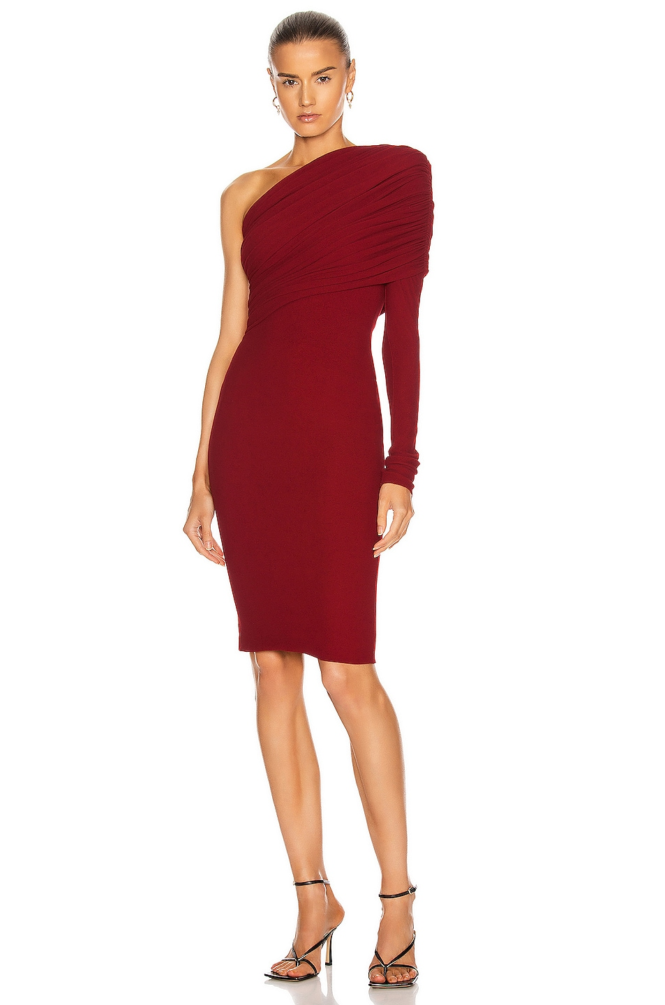 Image 1 of Alexandre Vauthier One Shoulder Midi Dress in Lacquer