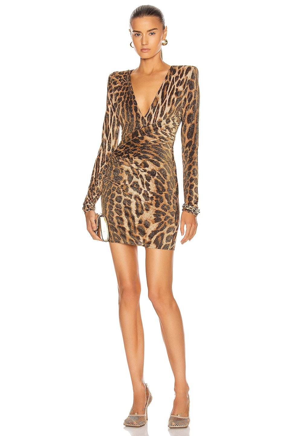 Image 1 of Alexandre Vauthier Leopard Ruched Mini Dress in Natural