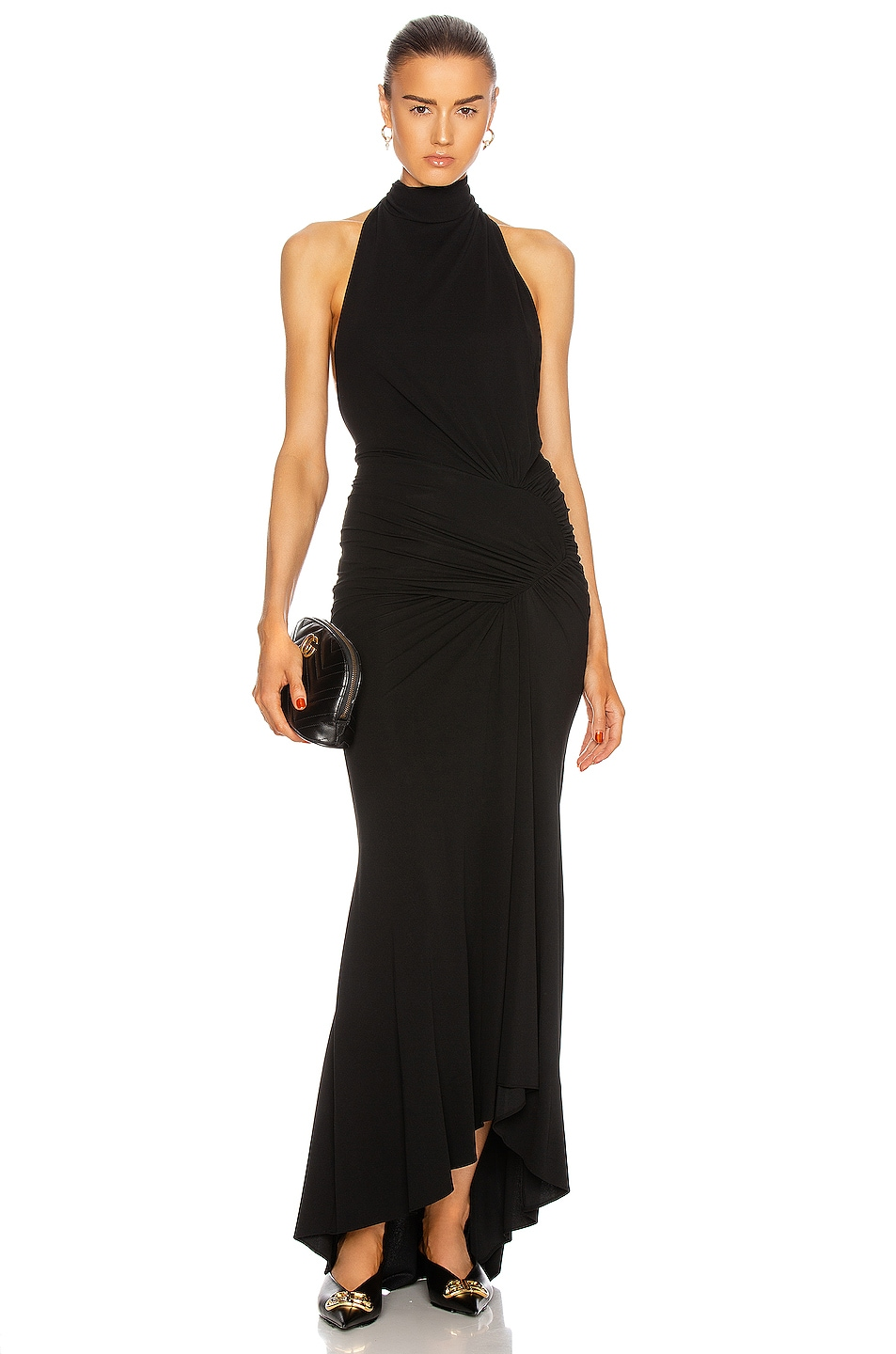 Image 1 of Alexandre Vauthier Ruched High Neck Midi Dress in Black