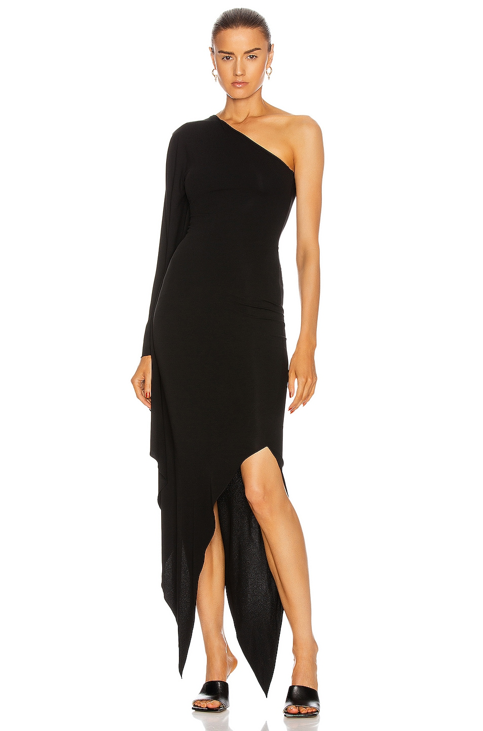 Image 1 of Alexandre Vauthier Draped One Shoulder Dress in Black