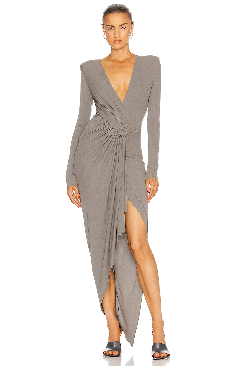 Image 1 of Alexandre Vauthier Gathered Asymmetric Dress in Graphite