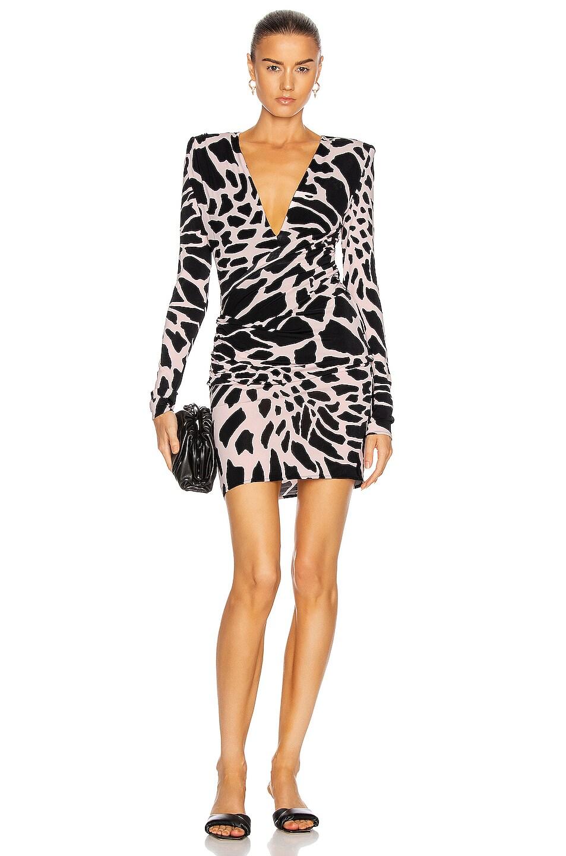 Image 1 of Alexandre Vauthier Giraffe Ruched Mini Dress in Quartz & Black
