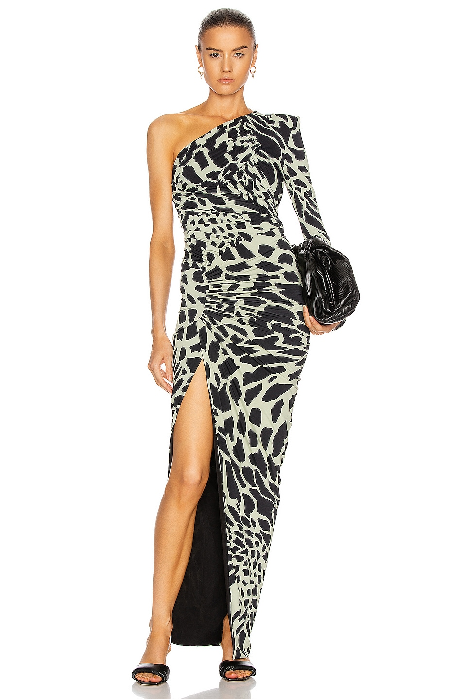 Image 1 of Alexandre Vauthier Giraffe One Shoulder Ruched Dress in Willow & Black