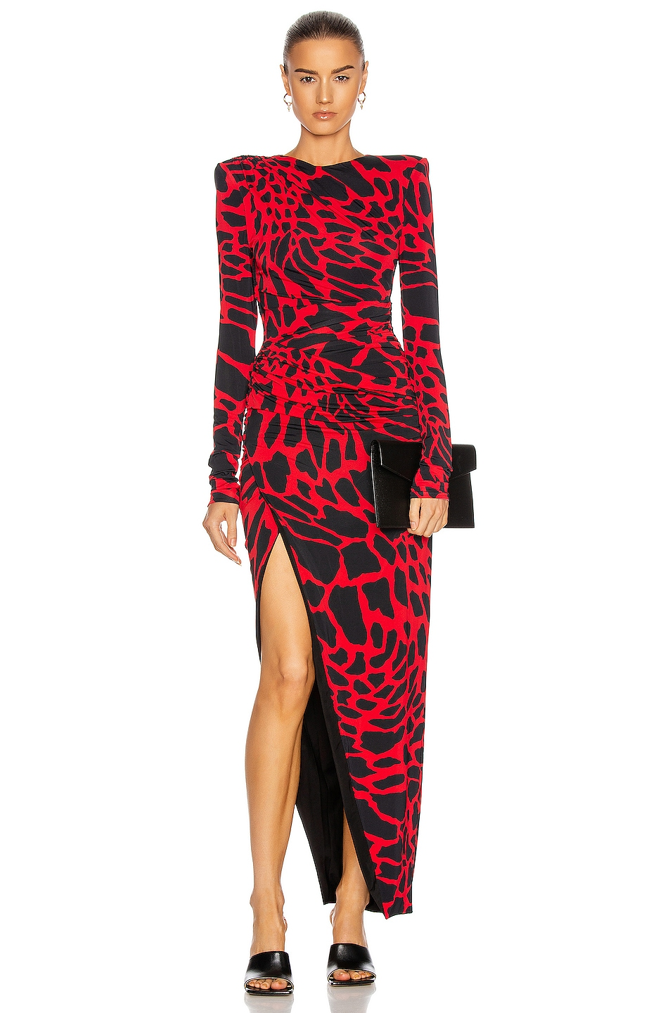 Image 1 of Alexandre Vauthier Giraffe Ruched Maxi Dress in Poppy & Black