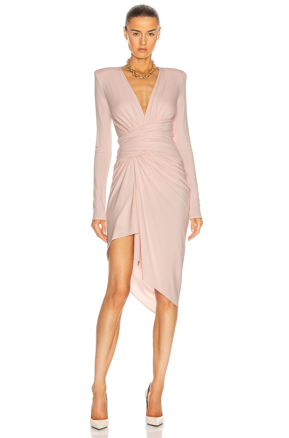 Image 1 of Alexandre Vauthier Long Sleeve Ruched Dress in Shell