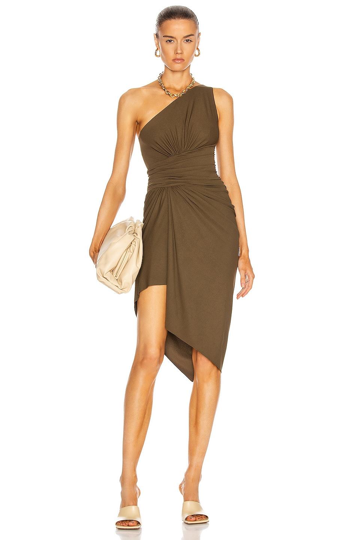 Image 1 of Alexandre Vauthier Ruched One Shoulder Dress in Bronze