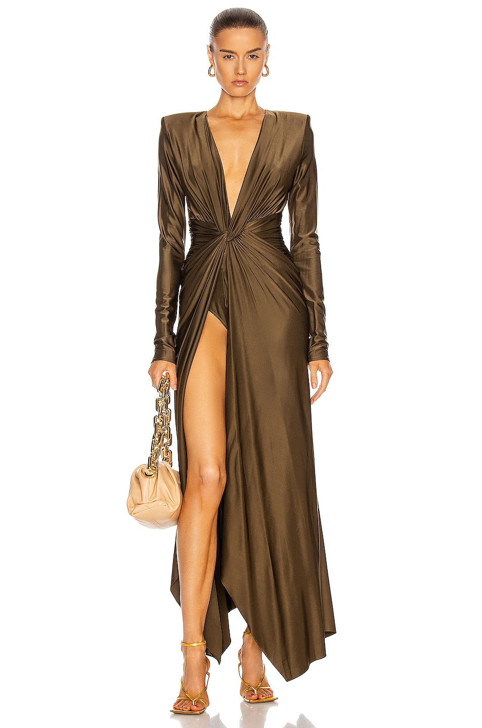 Image 1 of Alexandre Vauthier Plunging Ruched Gown in Bronze