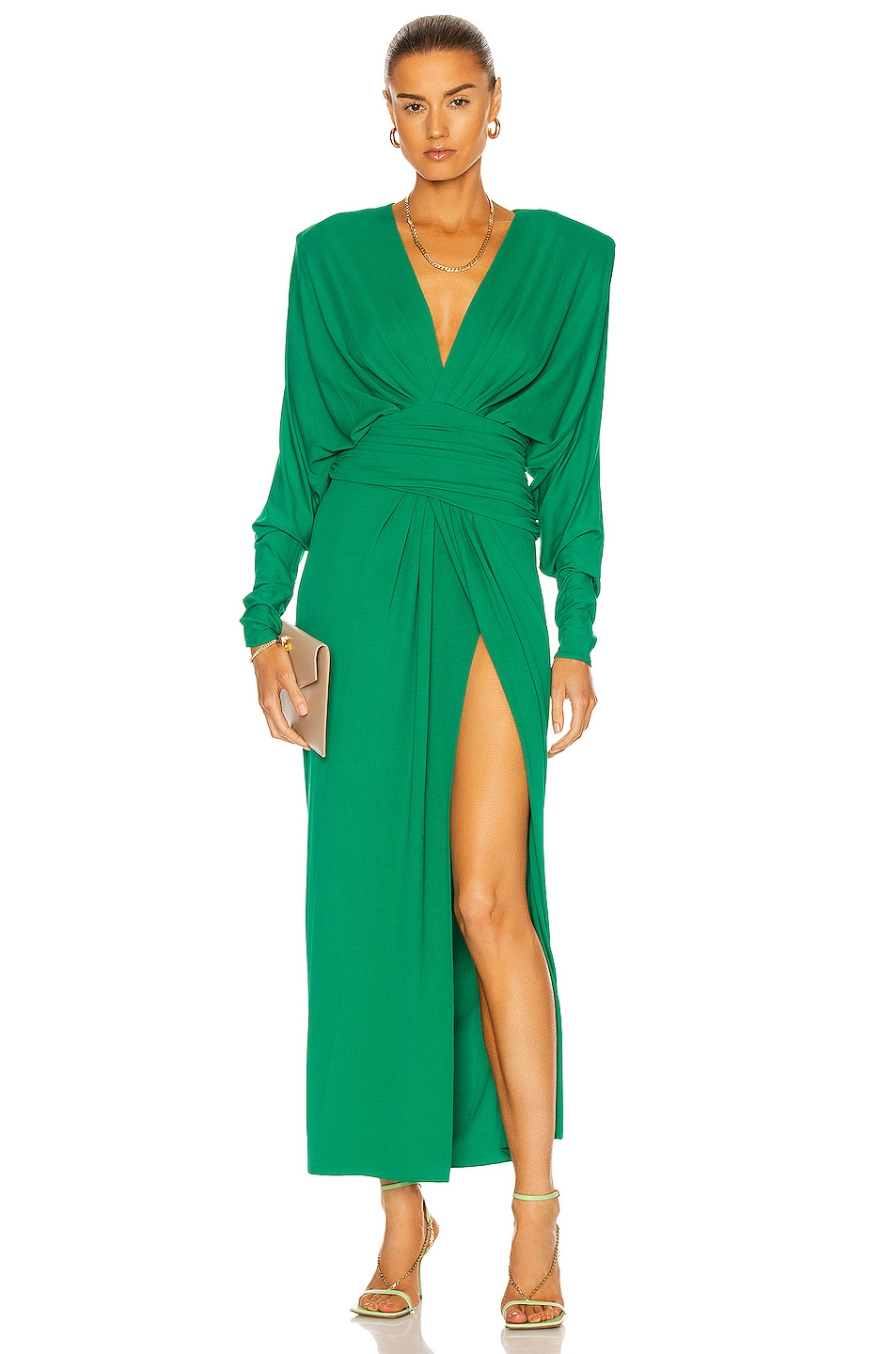 Image 1 of Alexandre Vauthier Cinched Waist Long Dress in Emerald