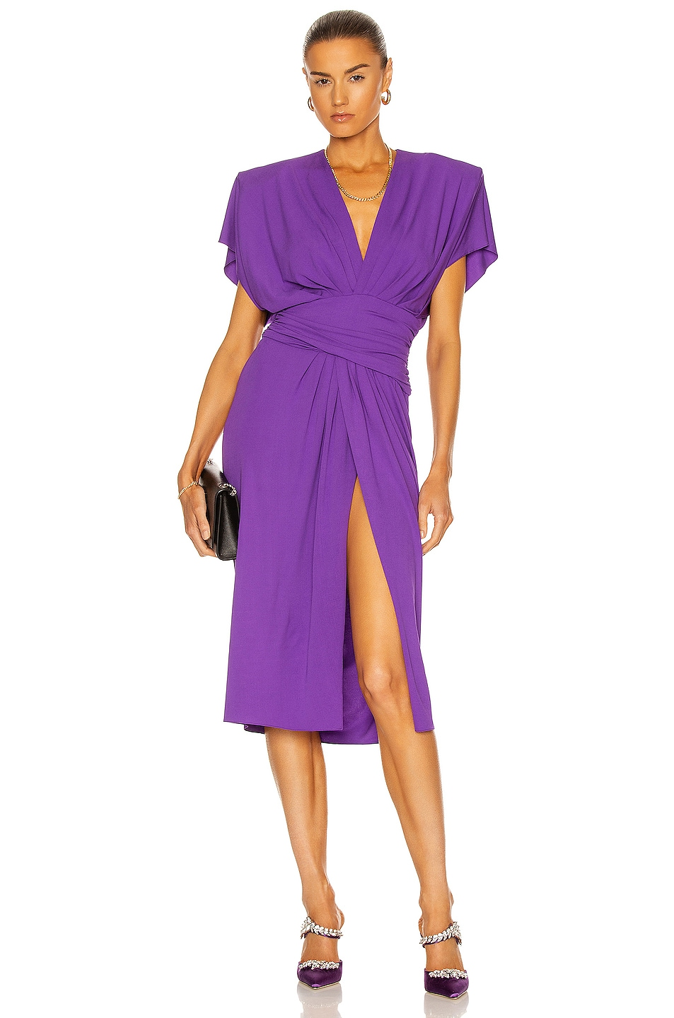 Image 1 of Alexandre Vauthier Ruched Midi Dress in Violet