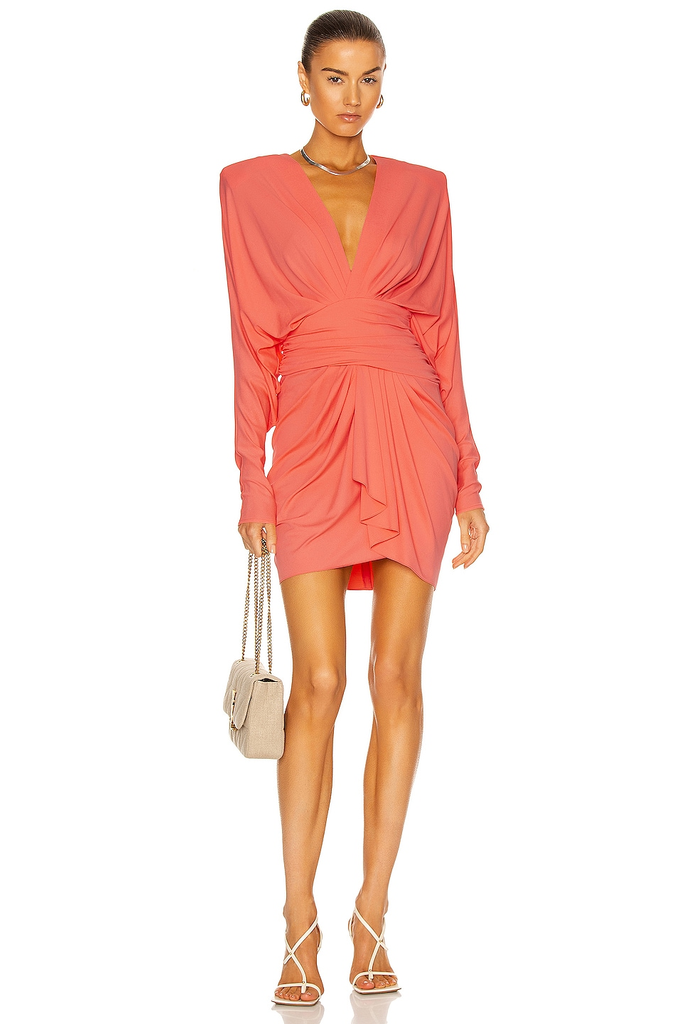 Image 1 of Alexandre Vauthier Ruched Mini Dress in Coral