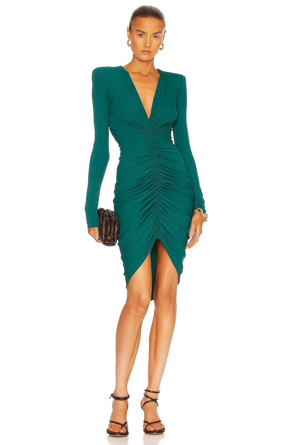 Image 1 of Alexandre Vauthier Long Sleeve Ruched Mini Dress in Green