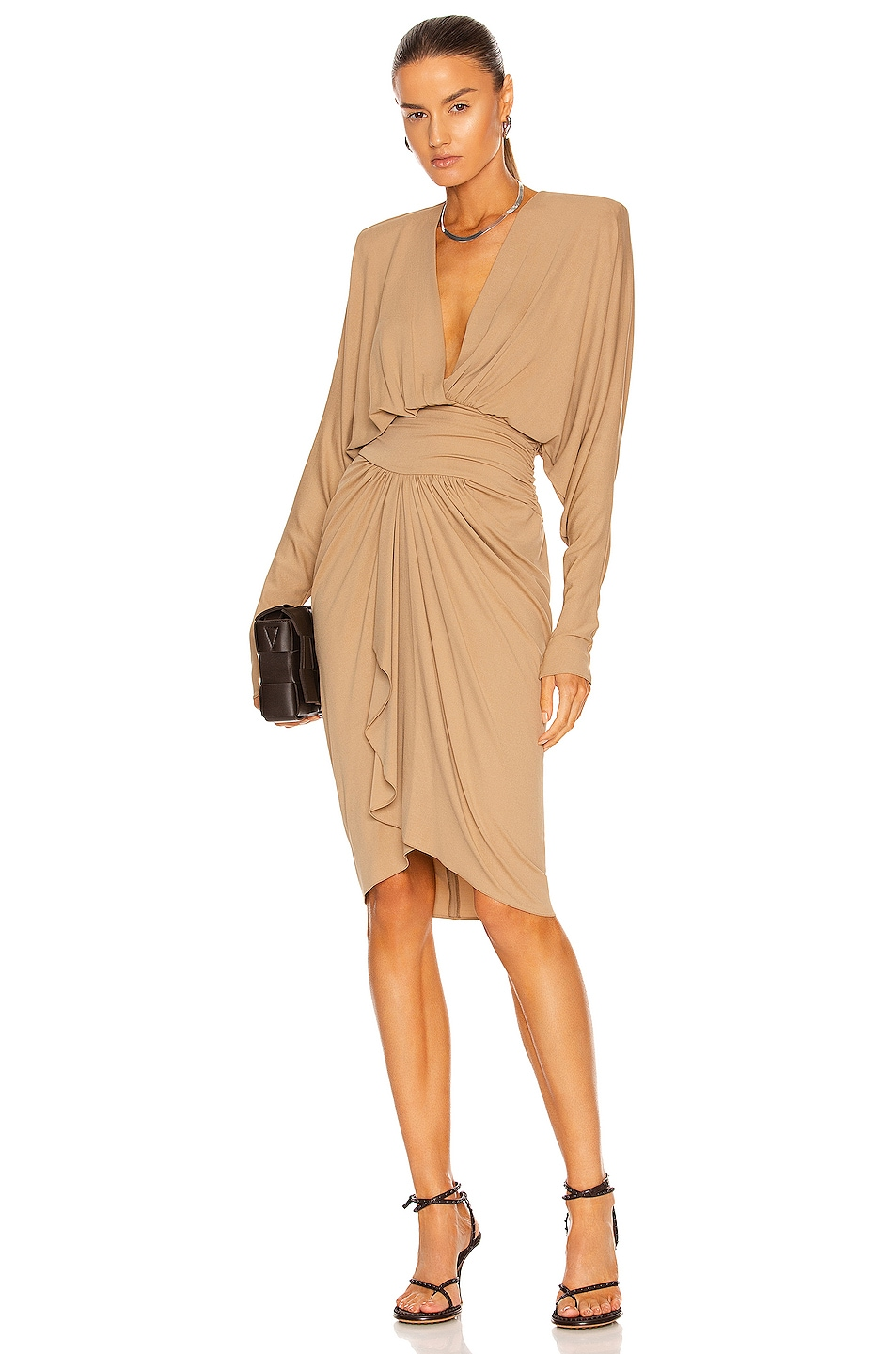 Image 1 of Alexandre Vauthier Long Sleeve Ruched Midi Dress in Beige