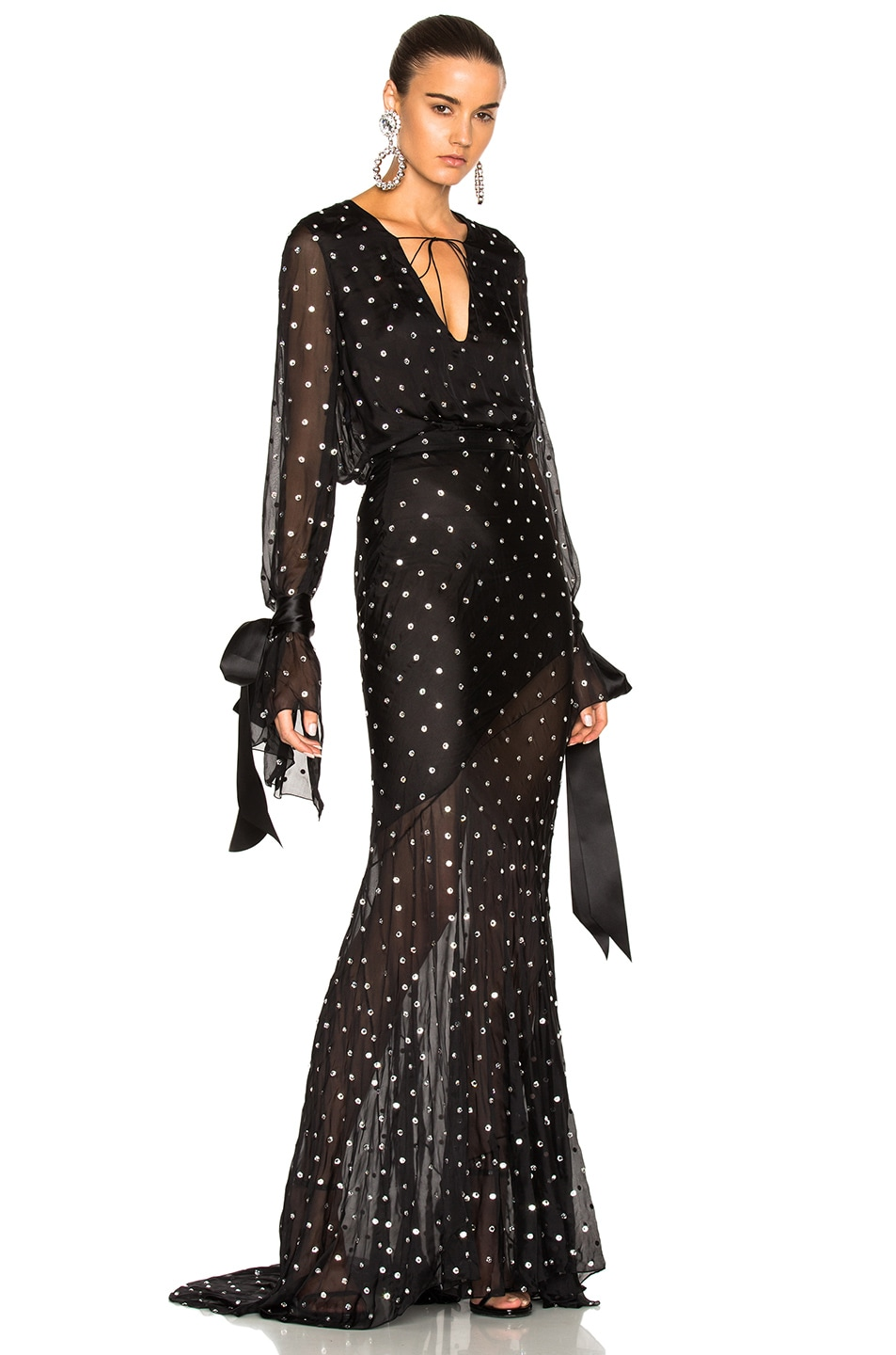 Image 1 of Alexandre Vauthier Embellished Plunging Gown in Black