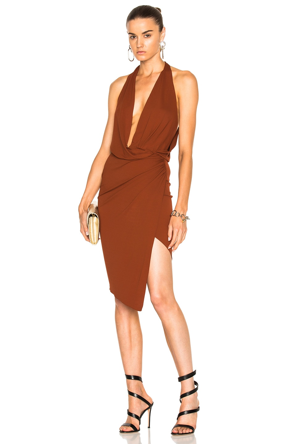 Image 1 of Alexandre Vauthier Stretch Jersey Sleeveless Wrap Dress in Cognac