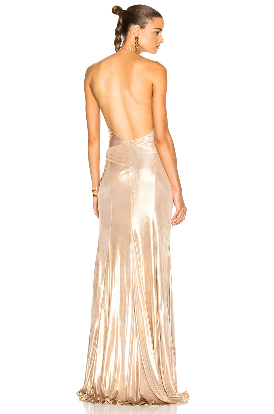 Image 1 of Alexandre Vauthier Jersey Crossover Halter Gown in Gold