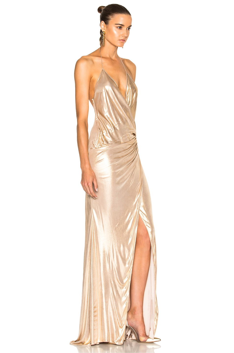 0cd36c91 Image 4 of Alexandre Vauthier Jersey Crossover Halter Gown in Gold
