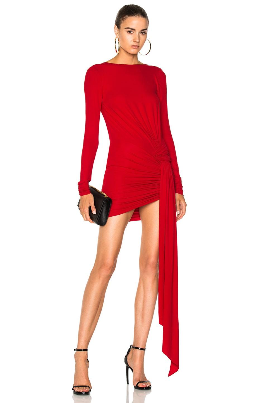 1bcff717bb Image 2 of Alexandre Vauthier Stretch Jersey Open Back Mini Dress in Crimson