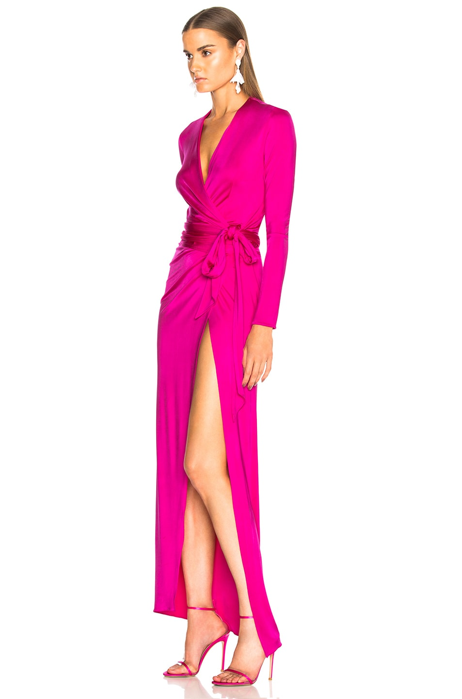 Image 3 of Alexandre Vauthier Shiny Jersey Wrap Gown in Shocking Pink