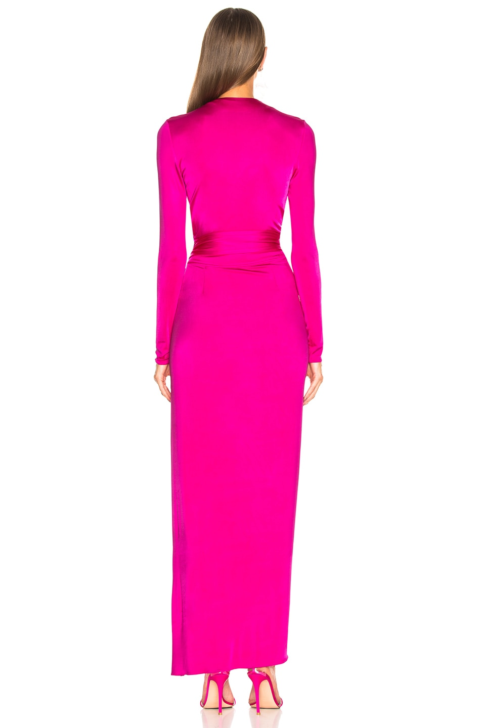 Image 4 of Alexandre Vauthier Shiny Jersey Wrap Gown in Shocking Pink