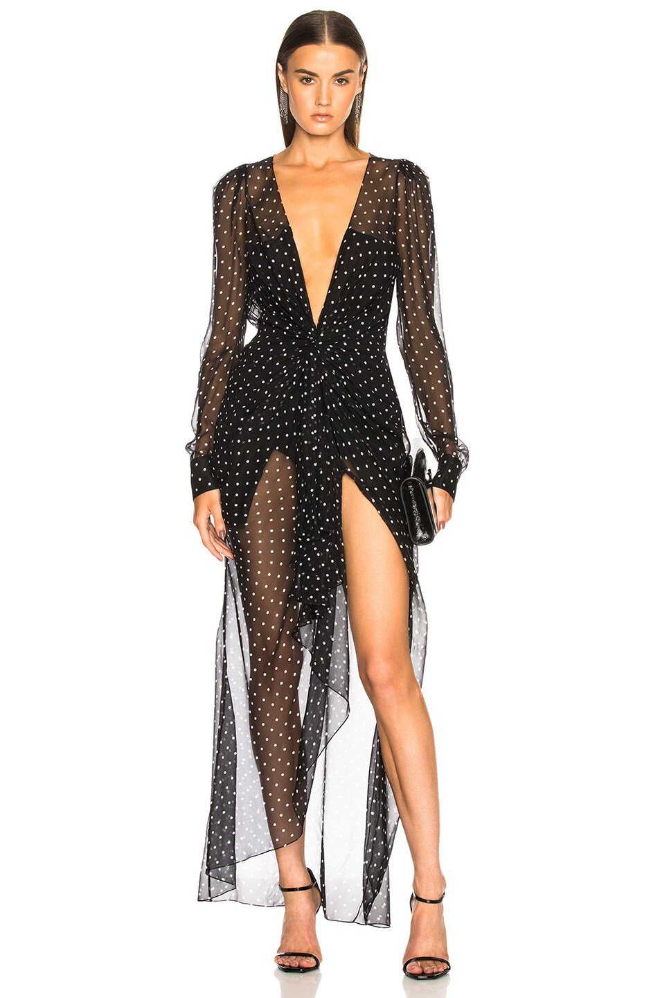 00b97a2c Image 1 of Alexandre Vauthier Dot Print Georgette Plunging Maxi Dress in  Black & White