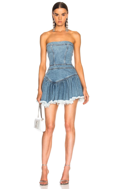 9432b975 Image 1 of Alexandre Vauthier Strapless Mini Dress in Sky