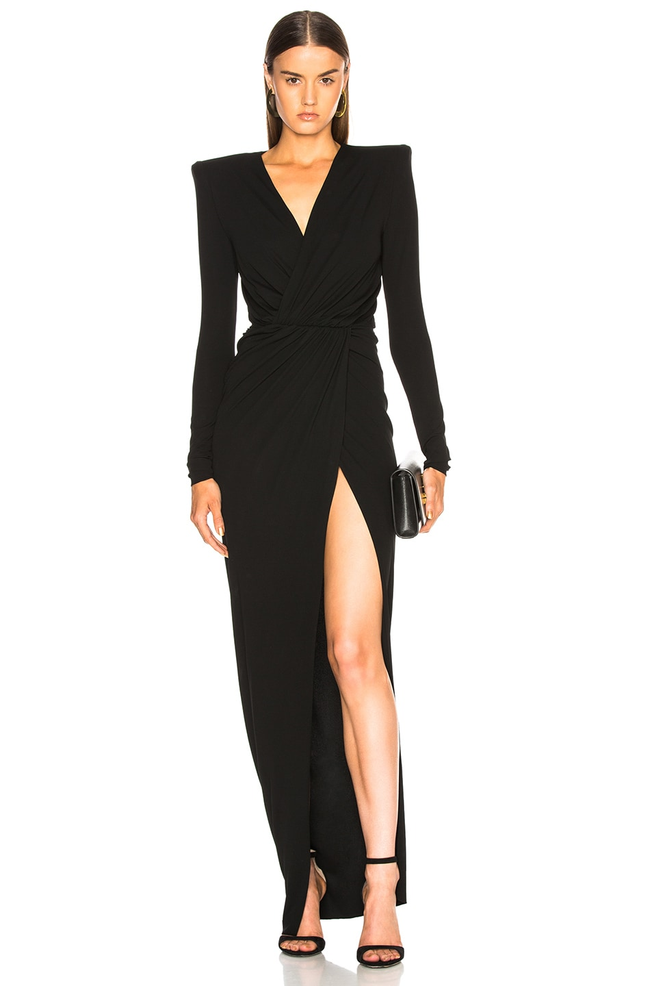 Image 1 of Alexandre Vauthier Ruched Gown in Black