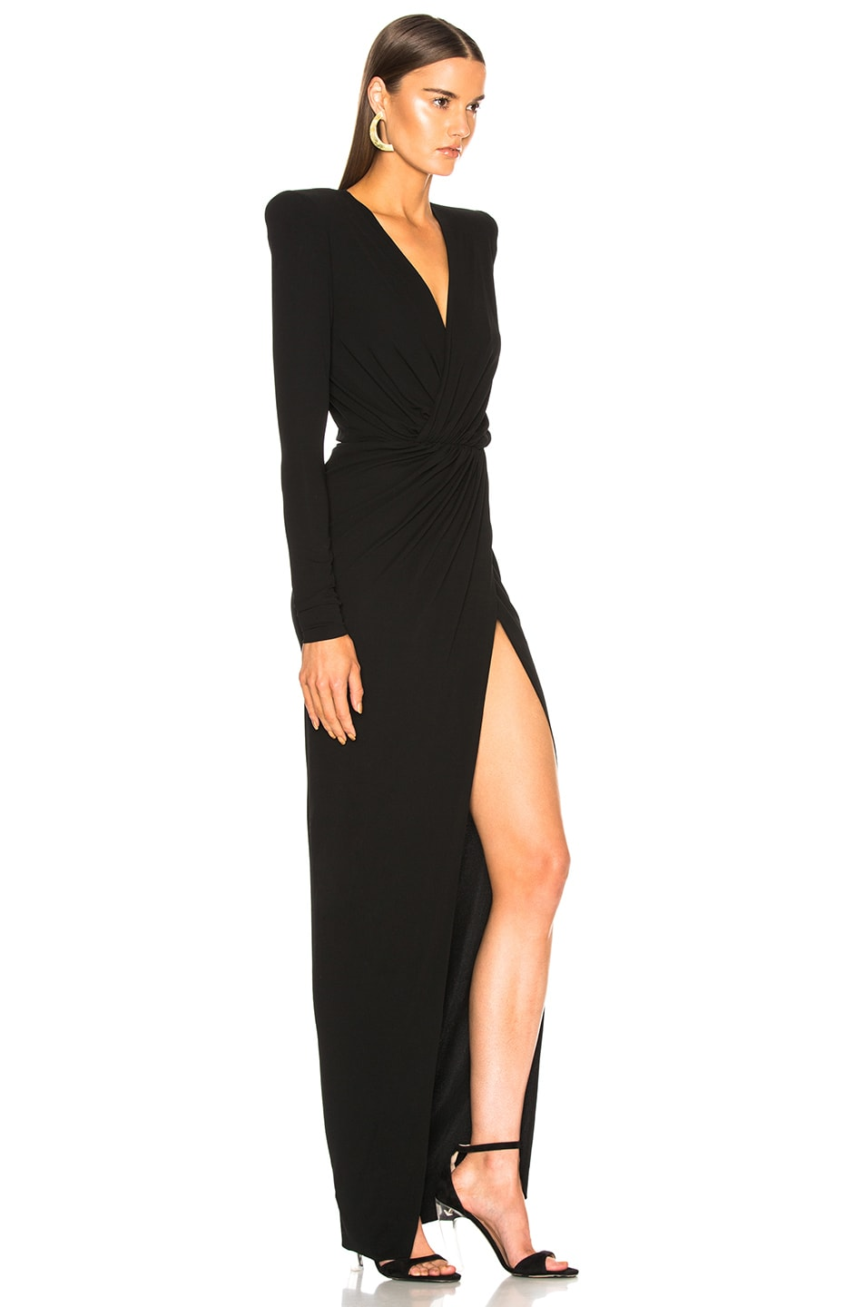 Image 2 of Alexandre Vauthier Ruched Gown in Black