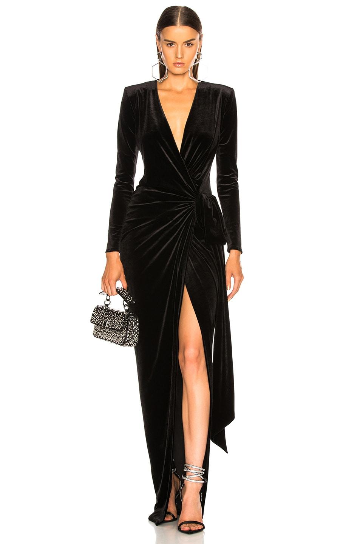 561599f7d1 Image 1 of Alexandre Vauthier Velvet Wrap Dress in Black