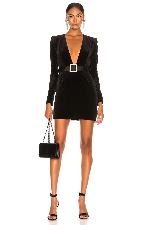 Image 1 of Alexandre Vauthier Velvet Mini Dress in Black