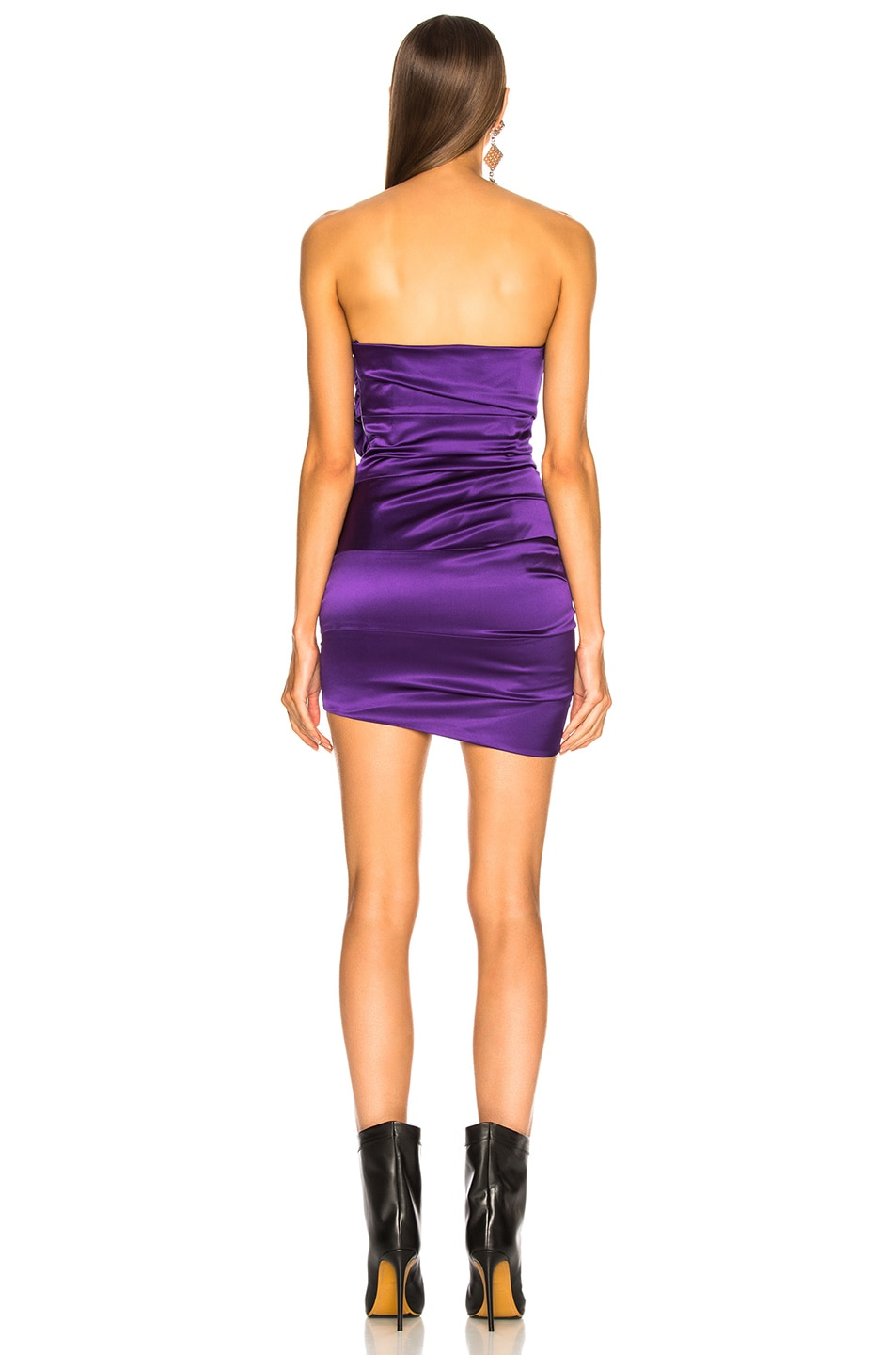 Image 4 of Alexandre Vauthier Stretch Satin Buckle Strapless Mini Dress in Purple