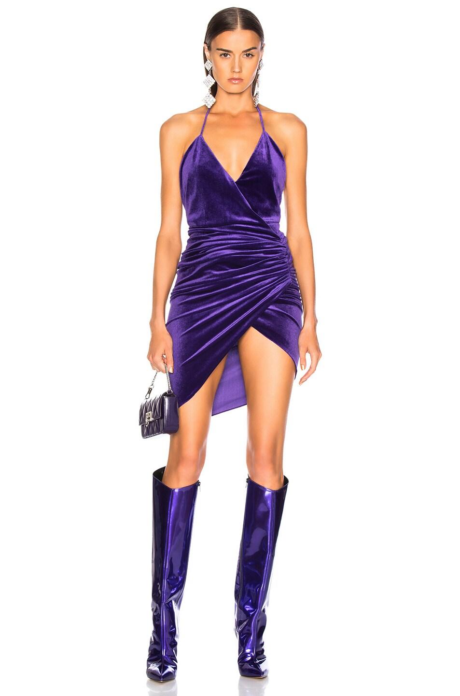 Image 1 of Alexandre Vauthier Jersey Velvet Ruched Halter Mini Dress in Purple