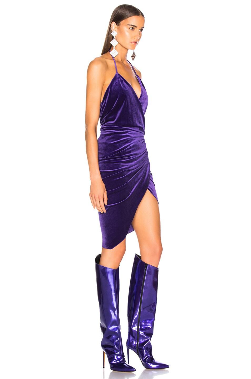 Image 2 of Alexandre Vauthier Jersey Velvet Ruched Halter Mini Dress in Purple