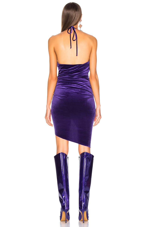 Image 4 of Alexandre Vauthier Jersey Velvet Ruched Halter Mini Dress in Purple