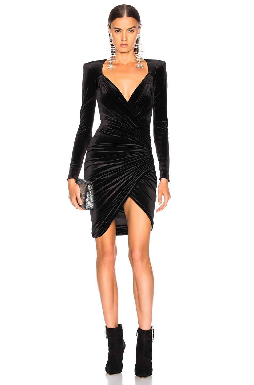 Image 1 of Alexandre Vauthier Jersey Velvet Ruched Mini Dress in Black