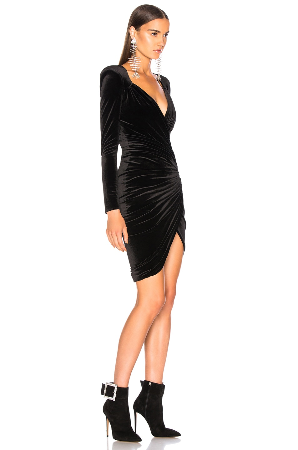 Image 2 of Alexandre Vauthier Jersey Velvet Ruched Mini Dress in Black