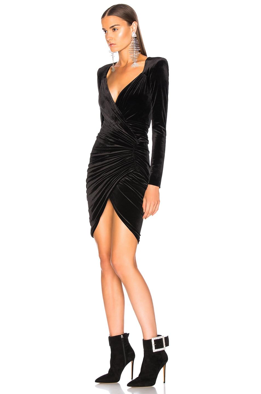 Image 3 of Alexandre Vauthier Jersey Velvet Ruched Mini Dress in Black