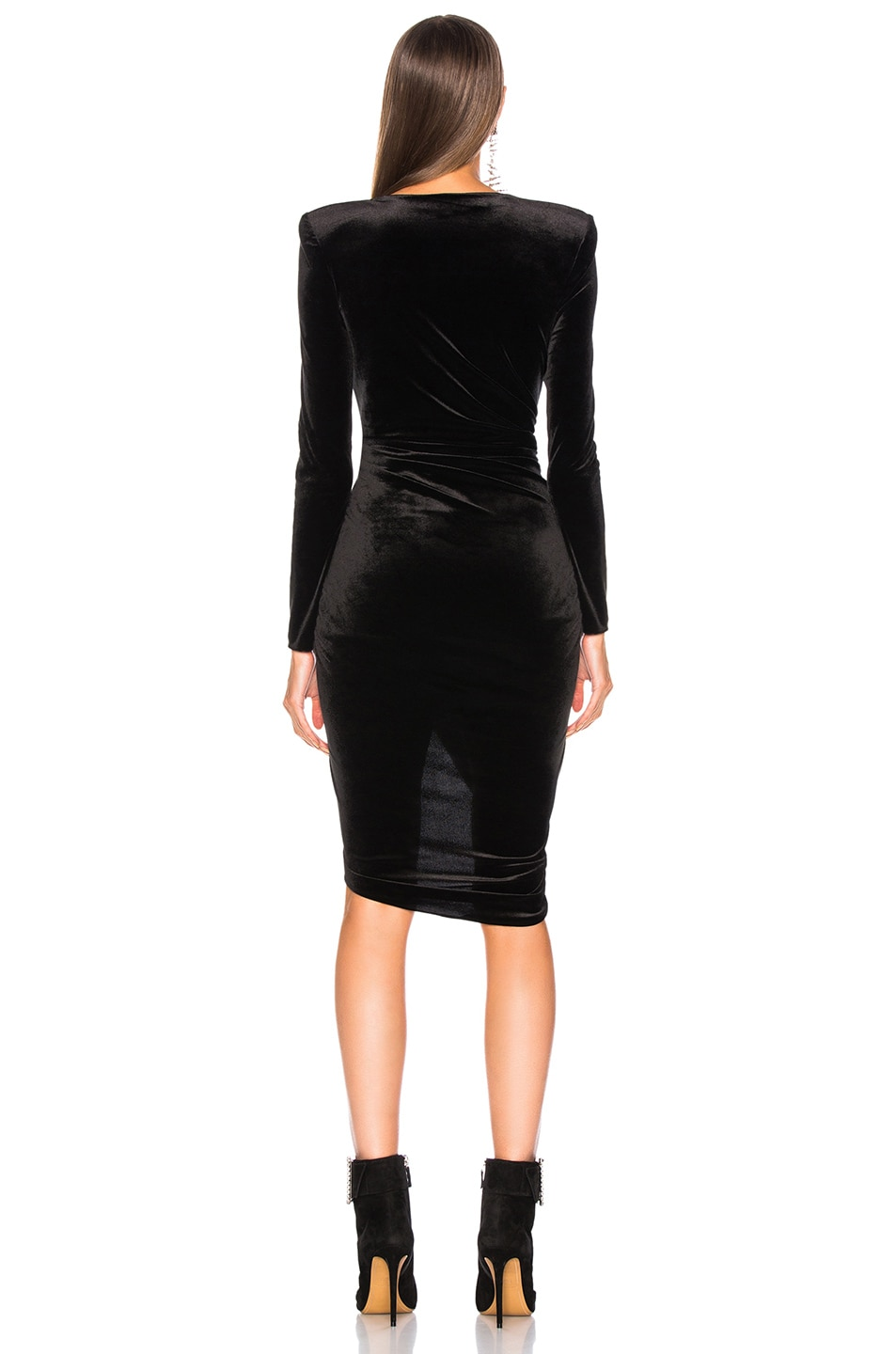 Image 4 of Alexandre Vauthier Jersey Velvet Ruched Mini Dress in Black