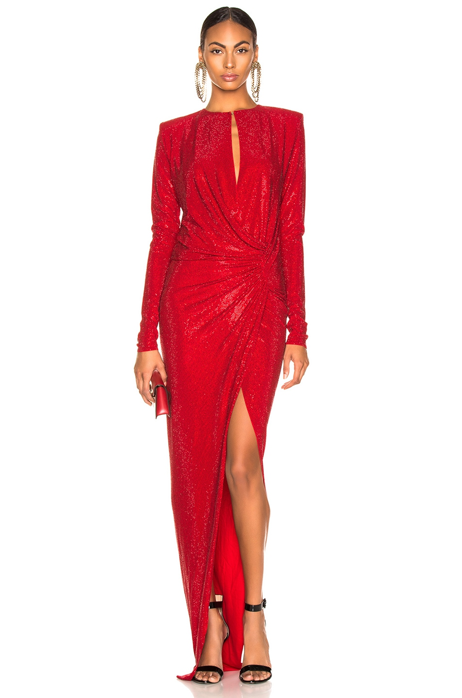 Image 1 of Alexandre Vauthier Embellished Jersey Wrap Gown in Scarlet