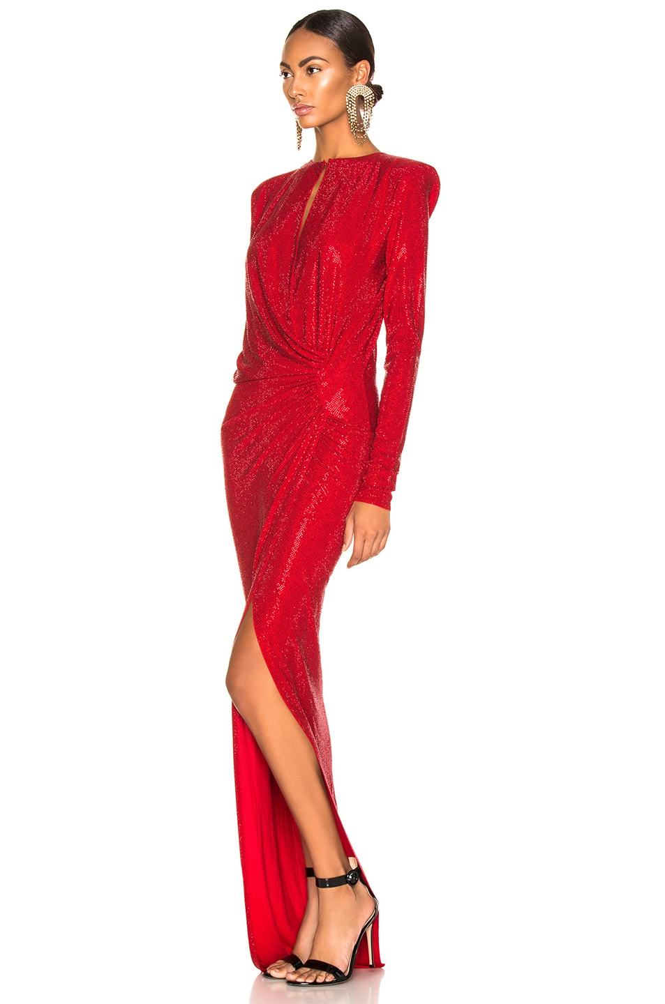 Image 3 of Alexandre Vauthier Embellished Jersey Wrap Gown in Scarlet
