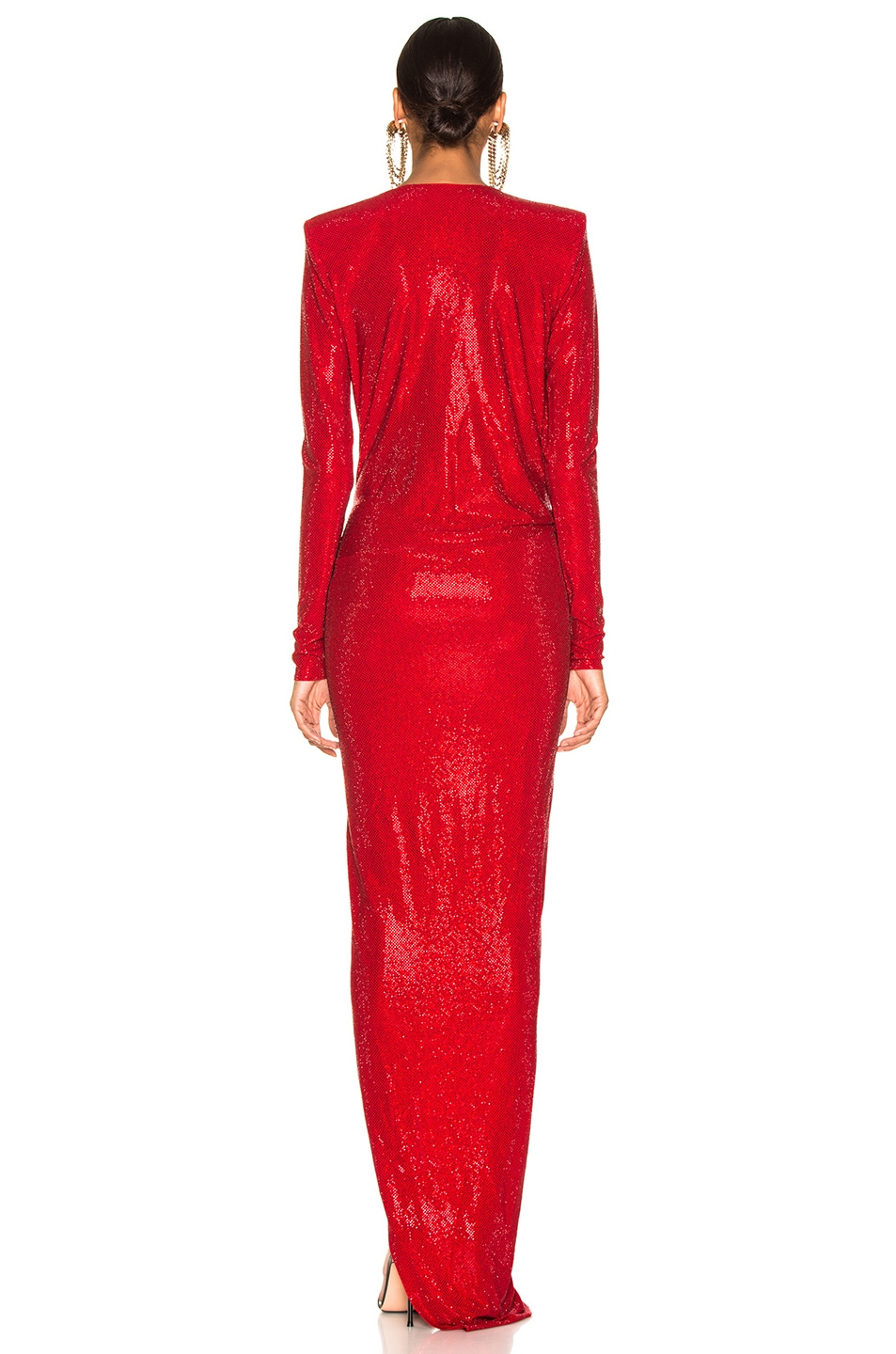 Image 4 of Alexandre Vauthier Embellished Jersey Wrap Gown in Scarlet